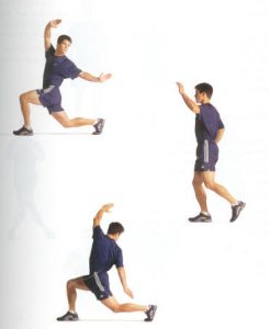 After you have lunged, slowly twist toward the side you are lunging for a more intense hip flexor stretch.